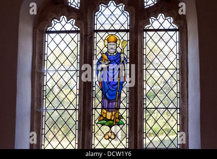 Stained Glass Window in St. Nicholas Church Southpool Devon UK - Stock Photo