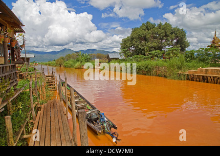 Canal view on Inle Lake, Myanmar (Burma) - Stock Photo