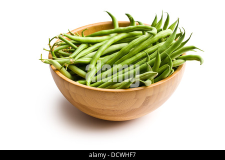 the fresh green beans in wooden bowl - Stock Photo