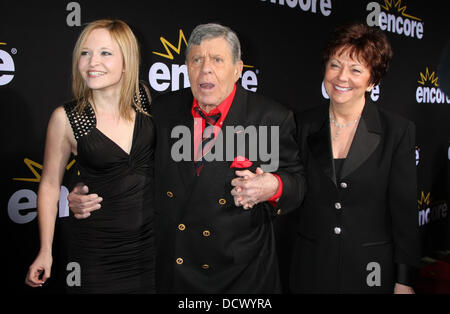 Daughter Danielle Sarah Lewis, Jerry Lewis, wife SanDee Pitnick  LA Premiere of Encore's 'Method To The Madness - Stock Photo