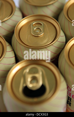 Ring pulls on the top of Ginger beer cans - Stock Photo