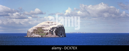 The Bass Rock island in the Firth of Forth home to a large colony of gannets - Stock Photo
