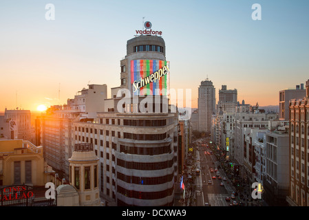 Spain, Skyline in Madrid - Stock Photo