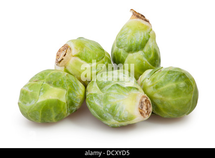 brussels sprouts group on white background - Stock Photo