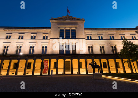 Exterior night view of Neues Museum or New Museum on Museumsinsel in Berlin Germany - Stock Photo