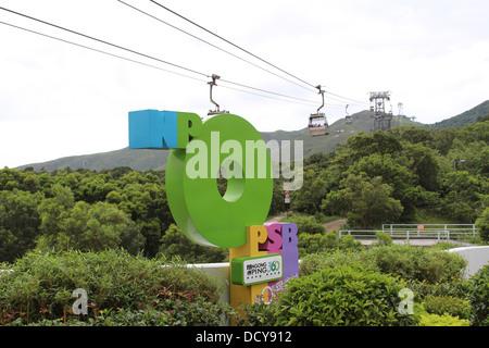 Cable car Sign on Ngong Ping, Lantau Island - Stock Photo