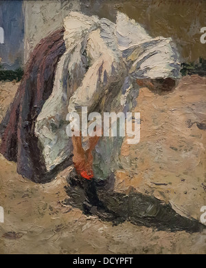 19th century  -  Young peasant lacing her shoe - Matej Sternen (1899) oil on canvas - Stock Photo