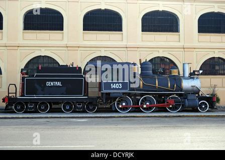 Steam train on display, Havana (Habana), Cuba, Caribbean. - Stock Photo