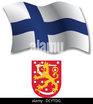 finland shadowed textured wavy flag and coat of arms against white background, vector art illustration - Stock Photo