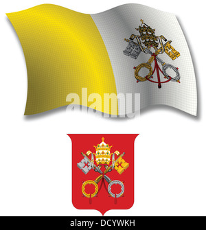 vatican shadowed textured wavy flag and coat of arms against white background, vector art illustration - Stock Photo