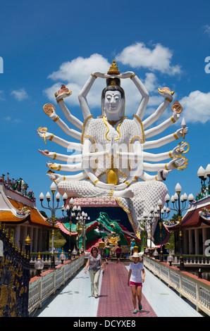 The 18 arm buddha statue at Wat Plai Laem on Ko Samui Island in the Gulf of Thailand. - Stock Photo