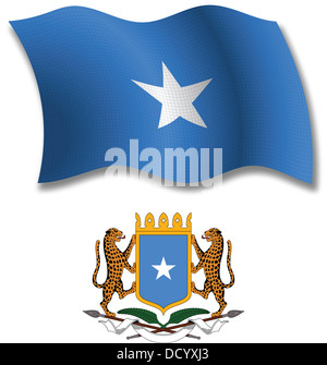 somalia shadowed textured wavy flag and coat of arms against white background, vector art illustration - Stock Photo