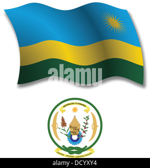 rwanda shadowed textured wavy flag and coat of arms against white background, vector art illustration - Stock Photo