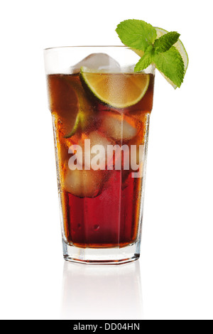 Long Island Iced Tea long drink isolated on white background - Stock Photo