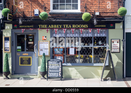 Abbey Tea Rooms exterior of  traditional tea room Tewkesbury Gloucestershire England UK - Stock Photo