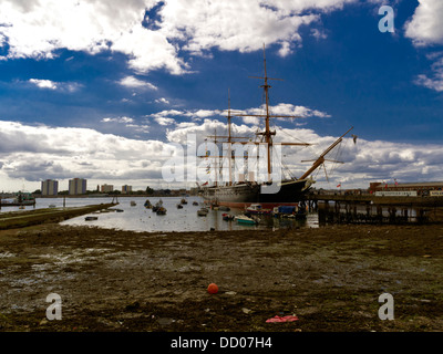 HMS Warrior, Victorian warship, Portsmouth, Hampshire, England. Launched in 1860,  she was Britain's first iron - Stock Photo