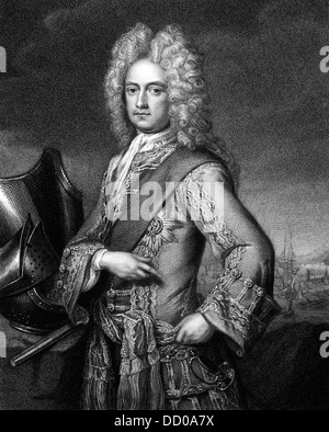 Charles Mordaunt, 3rd Earl of Peterborough (1658-1735) on engraving from 1830. English nobleman and military leader. - Stock Photo