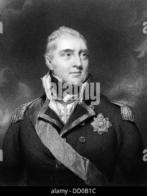 Edward Pellew, 1st Viscount Exmouth (1757-1833) on engraving from 1834.  British naval officer. - Stock Photo