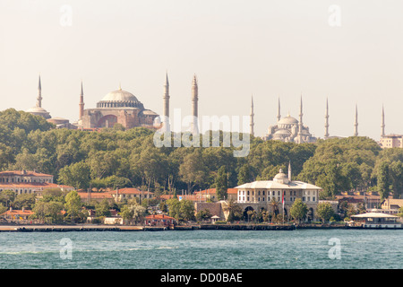 Hagia Sophia Mosque and Sultanahmet Mosque also known as Blue Mosque, beside the Bosphorus, Istanbul, Turkey - Stock Photo