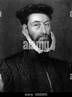 James Stewart, 1st Earl of Moray (1531-1570) on engraving from 1829. - Stock Photo