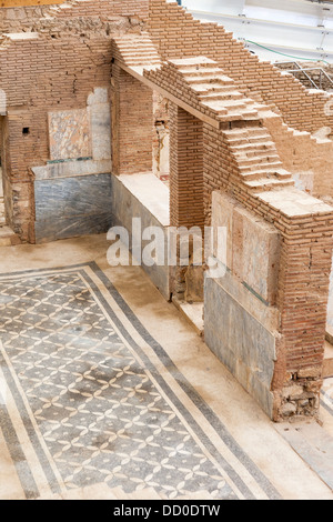 A mosaic in a hallway and walls of one of the terrace houses, Ephesus, Turkey - Stock Photo