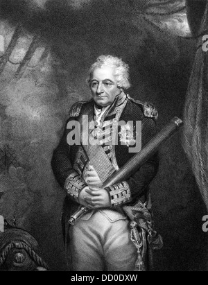 John Jervis, 1st Earl of St Vincent (1735-1823) on engraving from 1834. - Stock Photo