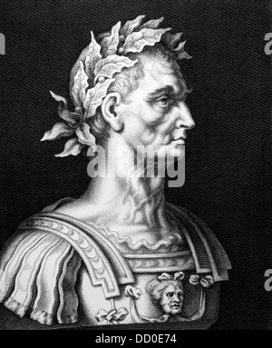 Julius Caesar (100BC-44BC) on engraving from 1860.  Roman general, statesman, Consul and notable author of Latin - Stock Photo