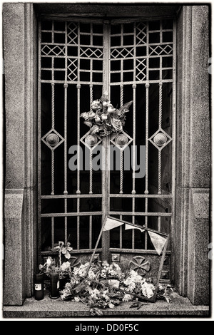 Roses tied to metal wrought iron gate at cemetery, broken glass frame and heap of flowers on step, monochrome image, - Stock Photo