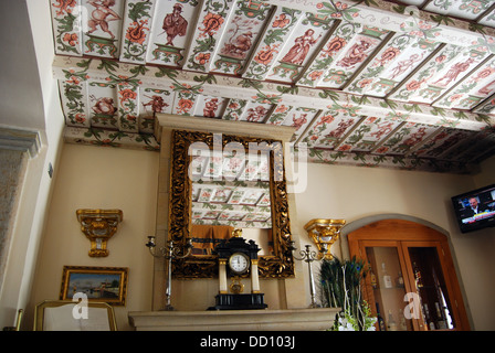 Ornate ceiling in a city centre hotel, Prague, Czech Republic, Eastern Europe. - Stock Photo