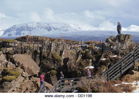 Pingvellir National Park Iceland mid Atlantic ridge rift valley tourists landscape - Stock Photo