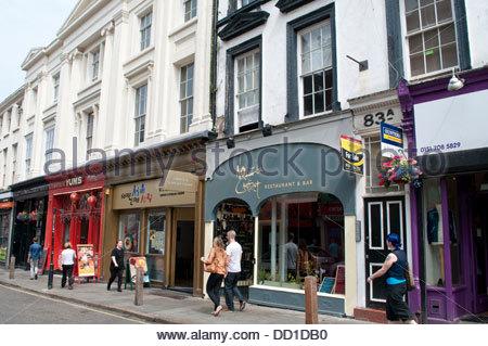 Trendy Bold Street, Liverpool, UK - Stock Photo