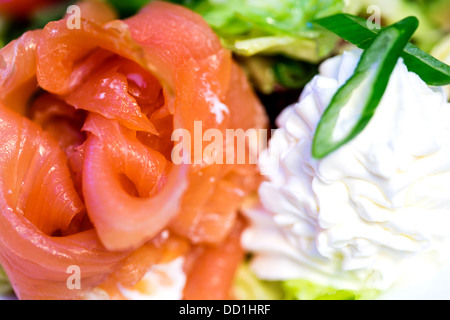 Salmon dinner served with rice and vegetables Stock Photo, Royalty ...