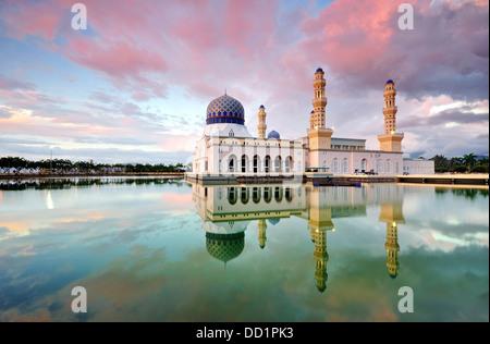 Sunset at Kota Kinabalu City Floating Mosque, Sabah Borneo East Malaysia - Stock Photo
