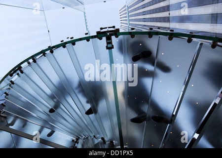NEW YORK - Stairs of the renovated Apple computer store Glass Cube on 5th Avenue in New York City, on January 9, - Stock Photo