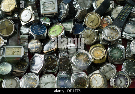 Bangkok , China town , old watches - Stock Photo