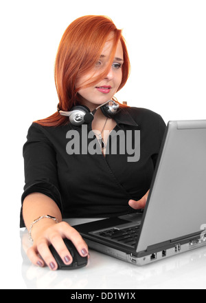 Friendly call center secretary consultant woman with headset telephone - Stock Photo