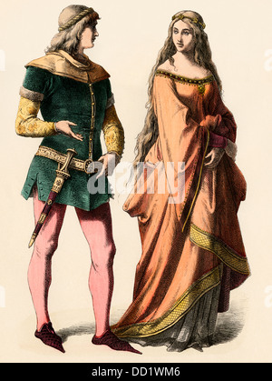 German knight and a lady, 1300s. Hand-colored print - Stock Photo