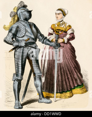 German knight and a lady of the late 1500s. Hand-colored print - Stock Photo