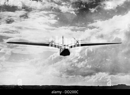 A flying boat of the type Do 26 produced by Dornier Flugzeugwerke (Dornier Aircraft Manufacturer) during a presentation - Stock Photo