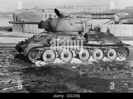 The image from the Nazi Propaganda! shows a Soviet tank on the outskirts of Kharkiv, Ukraine, on the Eastern Front, - Stock Photo