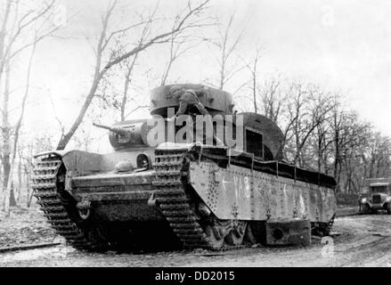 The image from the Nazi Propaganda! shows Soviet tanks on the outskirts of Kharkiv, Ukraine, on the Eastern Front, - Stock Photo