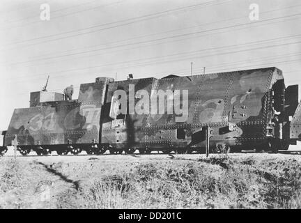 The image of the Nazi Propaganda! shows a captured Soviet armored train on the Eastern Front/Russia, 28 November - Stock Photo