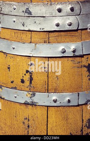 closeup of a wooden barrel - Stock Photo