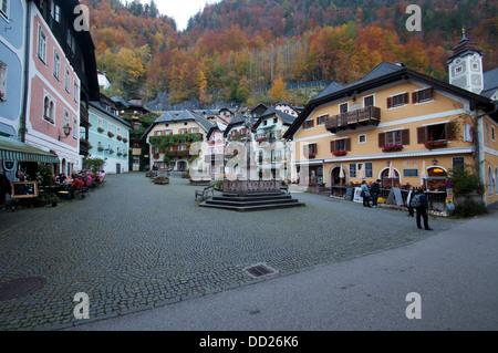 Austria, Hallstatt, Village square - Stock Photo
