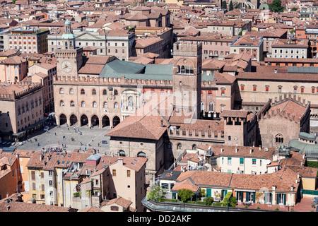 View from Torre Asinelli of Bologna towards Piazza Maggiore with Palazzo del Podesta, Palazzo Re Enzo, Torre dell'Arengo, - Stock Photo