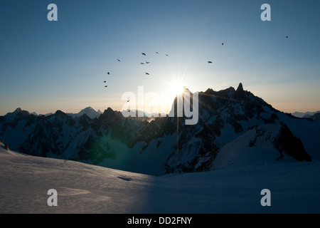 Sunrise rays over Grandes Jorasses north face seen from Valle Blanche. French Alps. Mont Blanc range. Morning in - Stock Photo