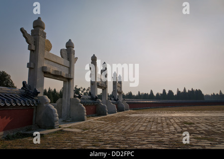 Magnificent fencing and gates surround the Circular Mound Altar, located at the southern end of the Temple of Heaven - Stock Photo