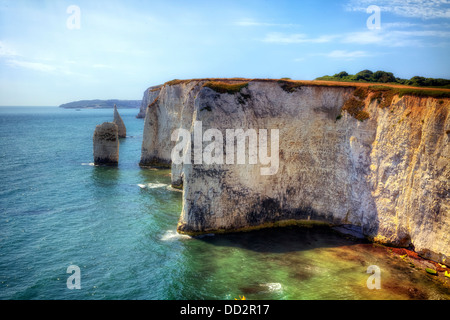 cliff line with chalk formations near Old Harry Rock, Purbeck, Dorset, England, United Kingdom - Stock Photo