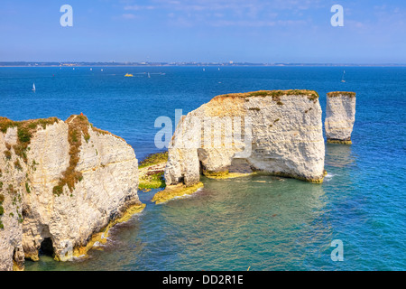 Old Harry Rocks, Studland, Purbeck, Dorset, England, United Kingdom - Stock Photo