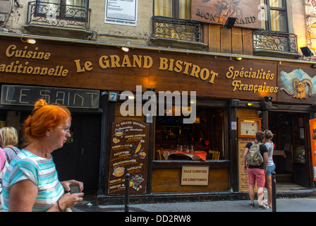 Paris, France, Street Scenes, French BIstro Restaurant, 'Le Grand Bistrot' Front, in Latin Quarter, Tourists - Stock Photo